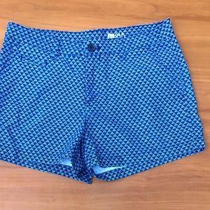 New🌻 GAP Flat Front Blue Geo Pattern Shorts - 4R
